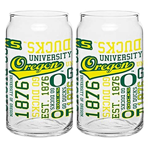 NCAA Oregon Ducks Sport Glass Can, 16-ounce, 2-Pack