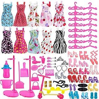 Asiv 110PCS Clothes Accessories for Barbie Dolls, Fashion 10pcs mini dress +14 Pair Shoes + 2pcs Doll stand Bracket + 84pcs accessories - Xmas gift