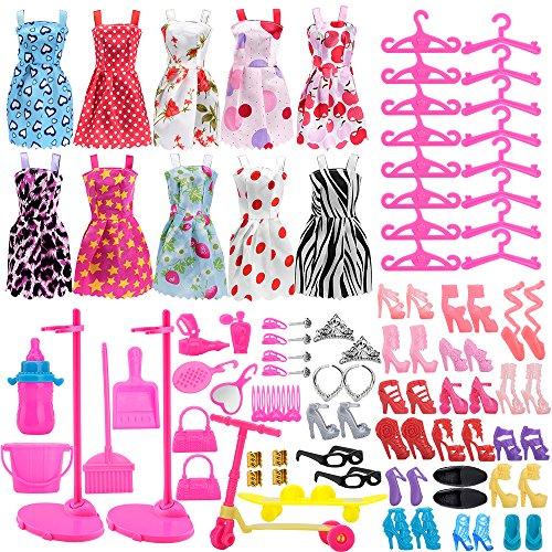 Asiv 110 Pcs Accessoires pour Barbie Poupées, 10 Mini Jupe...