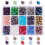 PandaHall Elite - 750~900pcs 15 Farben Glasperlen Facettierte Perlen Perle Doppelkegel für Schmuckherstellung, 6mm, Loch: 1mm