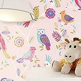 NEWROOM Kindertapete Rosa Vögel Eulen Kinder Papiertapete Bunt Papier Kindertapete Kinderzimmer Babytapete Babyzimmer Niedlich
