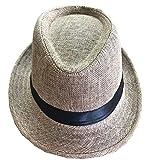 CLUB CUBANA Cappelli Fedora per Uomo Donne Cappello Unisex Capello Floscio Stile Panama Estate Spiaggia Sole Jazz Beige