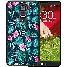 Funda LG G2, WoowCase [ LG G2 ] Funda Silicona Gel Flexible Flores Tropicales 2, Carcasa Case TPU Silicona - Negro