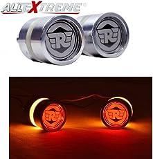 "AllExtreme Universal Motorcycle Bar End LED Turn Signals Strobe Running Lights Side Maker Indicator Warning Blinker for 7/8"" 22mm Handlebar (Silver, Pack of 2)"