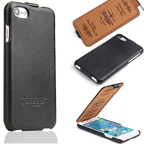 Twoways Schutzhülle kompatibel mit dem iPhone 8/7 von Apple - Leder Hülle Flip Case Handyhülle - Farbe Schwarz Iphone Leder Flip Case