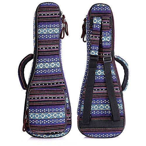 Zealux Ukulele-Tasche im Boho-Stil, mit verstellbaren Schulterriemen und 10 mm dicken Schaumstoffpolsterung 21 in Bohemia-F -