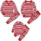 Conjunto de Pijamas Familia Navidad Mujer Niño Hombre Ropa de Dormir Algodón Pijamas Manga Larga 2 piezas Xmas Disfraz Papá Mamá Pyjamas Sets, Rojo