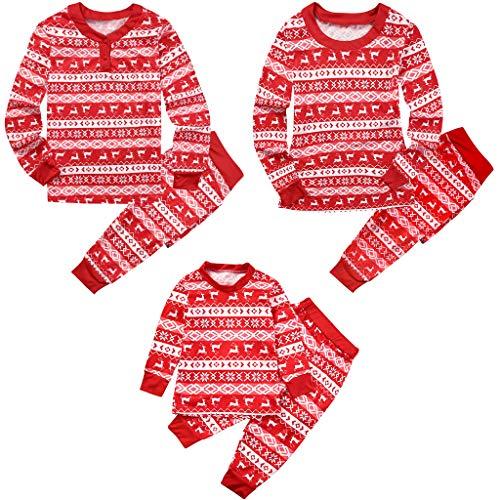 Pyjama Familien Schlafanzug Lang Weihnachten - Damen Herren Kinder Nachtwäsche Baumwolle Zweiteiliger Langarm Christmas Kostüme Xmas Gestreifte Outfits Papa Mama Passenden Pjs, Rot