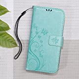Imprinted Butterfly Flower Card Slot Leather Phone Tasche