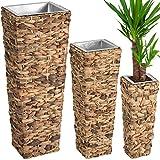 TecTake Lot de 3 Pots de fleurs en rotin résine tressée avec 3 pots intérieurs amovibles | - diverses couleurs au choix - (Nature | no. 402500)