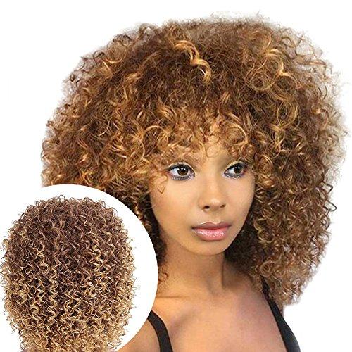 happyhouse009 Kunsthaar-Perücke, Kunsthaar, kurz, gelockt, modisch, für Damen, Afrikanisches Haar, Cosplay-Requisite Mehrfarbig (Kurze Halloween Haare)
