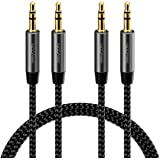 deleyCON 2x 1m Nylon 3,5mm Jack Ljud Stereo AUX Kabeljack Kabel Ljudkabel Nylon Kabel Metallkontakt Mobiltelefon Smartphone S