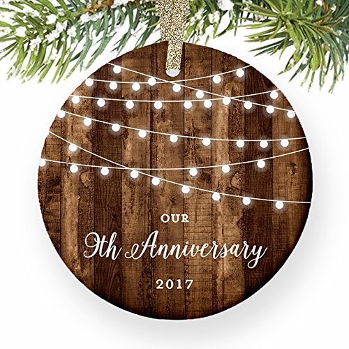 Ornamente für Weihnachtsbaum 9. Jahrestag Geschenke datiert Neunte Jahrestag Married für Paar Mr & Mrs Rustikal Weihnachts Dekorative Ornament, zum Aufhängen Xmas Geschenk (Datiert Weihnachtsbaum Ornamente)