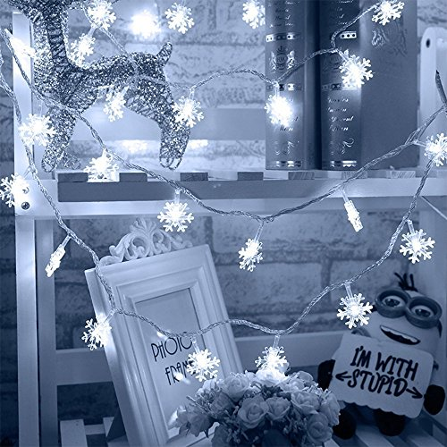 LED Lichterkette 20LEDs, 2Meter/6.6 Füße, HIPPIH® Schneeflocken Lichterketten Batteriebetrieben, Innen- und Außen Deko Glühbirne, Weihnachtsbeleuchtung für Weihnachten / Hochzeit / Party/Weihnachtsbau