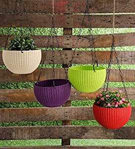 YOUNG CRAFTS Hanging Planters Plastic Flower Pots for Balcony Pots with Hanging Chains (Pack of 5) Multi Color- Small 6 Inches