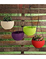YOUNG CRAFTS Hanging Planters Plastic Pots with Hanging Chains (Pack of 5) Multi Color