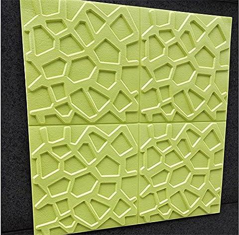 H&M Fond d'écran autocollant style pastoral stéréo 3D pour empêcher le crash XPE décoration salon restaurant TV mur chambre à coucher jardin d'enfants -60 cm (W) * 60 cm (L) , Green