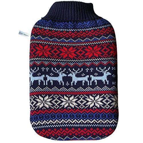 Premium 2 Litre Classic Eco-Sustainable Hot Water Bottle with Norwegian Cover (Rubberless) Made in Germany by HotWaterBottleShop
