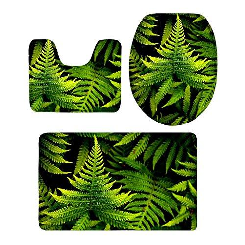 PETSOLA 8 Arten 3Pcs Eingestelltes Badezimmer rutschfeste Untersatz Wolldecke + Toilette Deckel Abdeckung + Bad Matte - Farn -