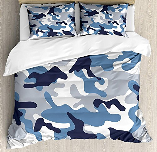 LIS HOME Camouflage-Bettbezug-Set Queen-Size, Illustration mit abstrakten weichen Farben Muster Camouflage-Design, dekorative 3-teiliges Bettwäscheset mit 2 Kissen-Shams, Schiefer-Blau-Indigo-Grau - Camouflage Kissen Sham