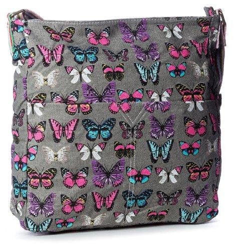 Big Handbag Shop, Borsa a tracolla donna One Grigio (Dark Grey)