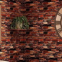 QER-Retro de pared de ladrillo, auto-adhesivo de papel tapiz barrios dormitorio pegatina cálidos muebles de pared con pared gruesa impermeable