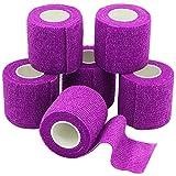 YuMai 6 Rollen Selbsthaftende Bandage, Wundverband, Sport Elastischer Verband, 5cm x 4.5m - Violett