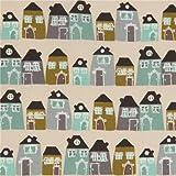 Beiger süßes graues grünes türkises Haus Stoff aus