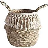 Panier en jonc de mer avec partie supérieure pliable pour le rangement du linge, pique-nique, cache-pot de fleurs, sac de pla
