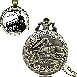 YISUYA Retro Bronze Full Hunter Case Locomotive Train Head Front Pocket Watch with Chain Pendant Necklace Mens Boys Gift Box