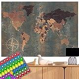 decomonkey Weltkarte Vintage Poster Wanbild Retro XXL Worldmap INKL. AUFKLEBERSET (74 STK.) Zweiseitig 140x100 cm beidseitig Bedruckt & laminiert 2 Antike Weltkarten Welt Atlas Kontinente