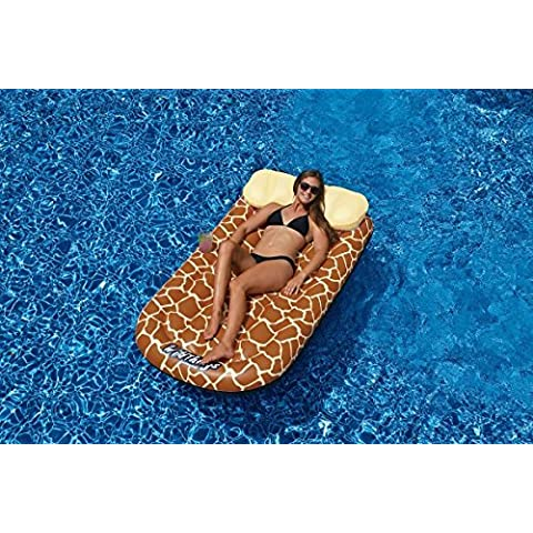 72 Water Sports Wild Things Giraffe Print Inflatable Swimming Pool Lounger Raft by Swim Central
