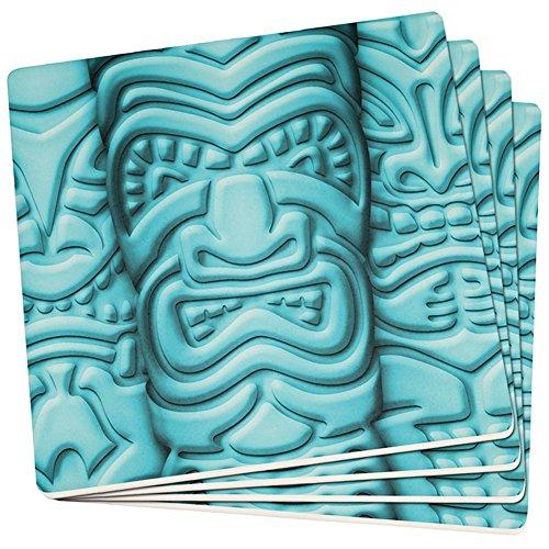 Old Glory Tiki Gott Blaues Gesicht Luau Set von 4 Quadratischen Sandstein-Achterbahnen Multi Standard Ein Größe