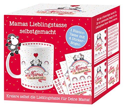 Sheepworld Mama-Je HAB Dich lieb Do It Yourself blanches avec tasse de 4 feuilles de stickers à monter soi-même, 35 cl, Porcelaine, Blanc, 8 cm cm