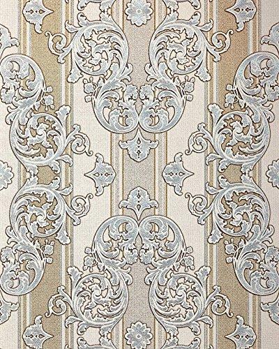 Barock-Tapete EDEM 580-30 Hochwertige geprägte Tapete in Textiloptik und Metallic Effekt hell-elfenbein perl-gold silber 5,33 m2 -