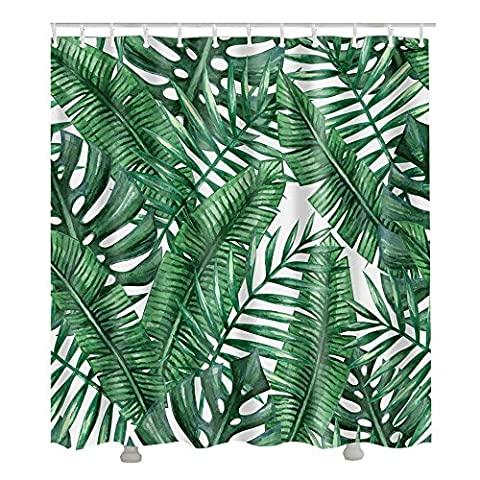 Nibesser Tropical Plants Decor Jungle Green Banana Leaves Shower Curtain 72X72 inches Mildew Resistant Polyester Fabric Bath Curtain