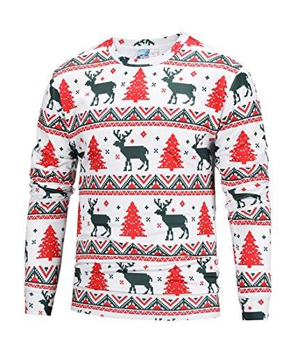 Honeystore Herren Weihnachten Langarmshirt Sweatshirt Niedlich Elche 3D Weihnachts Muster Drucken T-Shirt Blusen Herbst Winter Warme Rundhals Pullover Sweatshirt Tops Weihnachtsbaum XL -