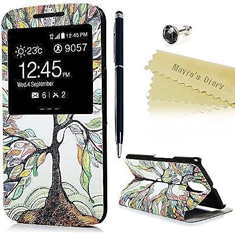 Motorola Moto G4 / G4 Plus Funda Libro de PU Leather Cuero Ventana S View - Mavis's Diary Funda para móvil Carcasa Con Flip Case Cover Stand,Función de Soporte -Diseño de los árboles del