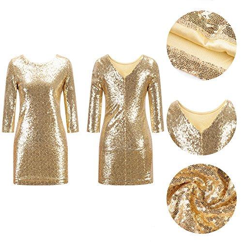 Frauen halbe Hülse Pailletten-Kleid tief V zurück Clubwear Abendkleid Gold S - 6
