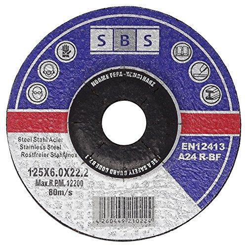 SBS Schruppscheiben Metall INOX ø125 x 6 mm für Winkelschleifer - 5 Stück Test