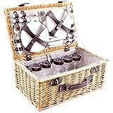 DiKasa - Cesta de picnic de mimbre con accesorios