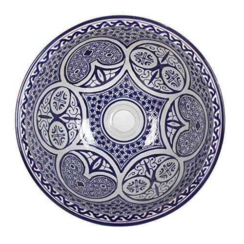 Mediterrane Keramik-Waschbecken Fes108 rund Ø 40cm blau-weiß H 18 cm Handmade Waschschale | Marokkanische Handwaschbecken Aufsatzwaschbecken für Bad Waschtisch Gäste-WC Badezimmer