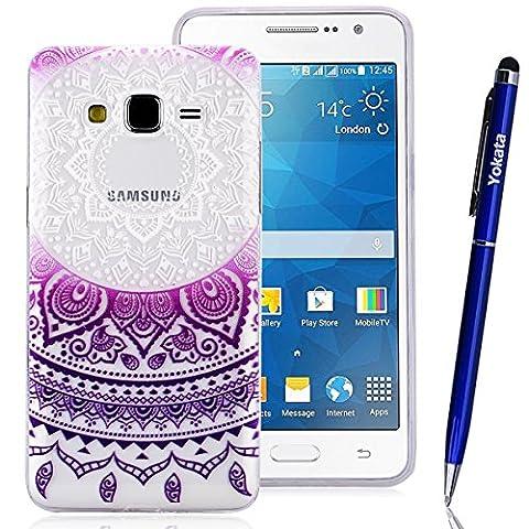 Coque Samsung Galaxy Grand Prime G530, Yokata Case Mandala Tribal Motif Design Housse Étui Clair Transparente Soft Doux TPU Silicone Flexible Backcover Ultra Mince Hybrid Crystal Coque - Pourpre