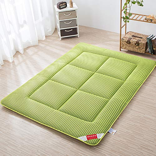 Atmungsaktive Matratze Geldklammer, Faltbare Tatami Matratze Futon, Double Soft Schlafen Pad Matratzenschoner Bett Roll, Matratzenauflage Abdeckung-grün Twin: 90x200cm (Futon-matratze-abdeckung)