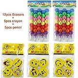Almondcy 5pcs Cire crayon crayon + 5pcs emoji Crayons + 12pcs emoji visage gommes