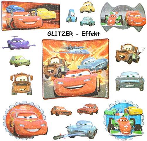 Unbekannt 16 STK. 3-D Sticker - Disney Cars Lightning McQueen - Aufkleber für Textilien Stoff Metall Papier - für Kinder Kind Car Auto (Lightning Mcqueen 3d)