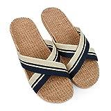 Chaussures Homme Sandales de Paille Pantoufle Chaussures de Sol Croisée Chaussons de Lin Unisexe(Bleu,44/45)