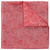 Coral Pink Paisley 100% Silk Pocket Square, Wedding Collection, Signature Wrapping 30 x 30 cm