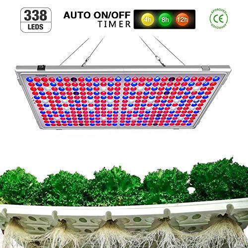 Relassy Pflanzenlampe Auto EIN/Aus Vollspektrum Pflanzenlampe 300w Faltbar Pflanzenlicht mit 4h/8h/12h Timing-Funktion, 338 LEDs für Zimmerpflanzen (M-300)