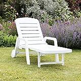 Resol Palamos Folding Sun Lounger - White Plastic